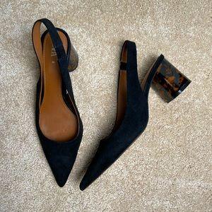 Zara Black Suede Sling Back Heel Size 40